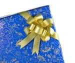 Blue gift box with golden ribbon Stock Photos