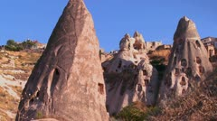 The strange towering dwellings and rock formations at Cappadocia, Turkey. Stock Footage