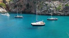 Yachts in beautiful bay, Mallorca Stock Footage