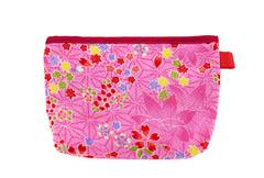 pink and red flower pocket bag with leaves and hearts - stock photo