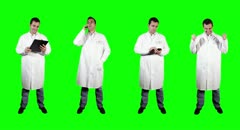 4K Young Doctor Good News Full Body Bundle Greenscreen Stock Footage