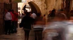 Jerusalem street people timelapse 1111 Stock Footage