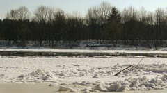 Neris river in winter and ice floating in water Stock Footage
