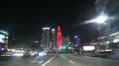 Miami Downtown Night Drive Stock Footage