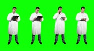 4K Young Doctor Full Body Bundle Greenscreen Stock Footage