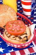chicken burger on fourth of july - stock photo