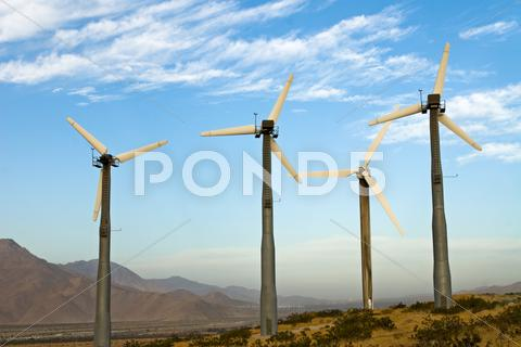 Stock photo of wind power mills