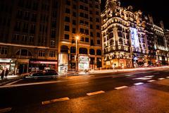 Street traffic in night madrid, spain Stock Photos