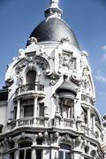Facade of white building in madrid, spain Stock Photos