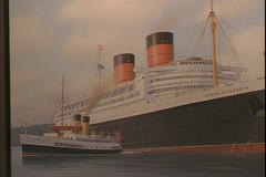 Painting of The RMS Queen Elizabeth, 1938, two stacker of The Cunard Line Stock Footage