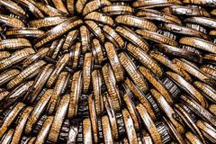 detail of interlaced rattan fibers in macro - stock photo