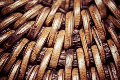 Detail of interlaced rattan fibers in macro Stock Photos