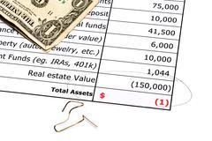 Devalued real estate balance sheet Stock Photos
