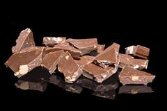 Chocolate chunks with almonds Stock Photos