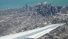 CHICAGO aerial view from plane Stock Footage