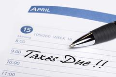 Taxes due datebook reminder Stock Photos