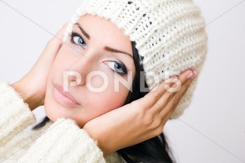 Stock photo of cute winter fashion girl.
