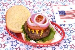 July fourth hamburger Stock Photos
