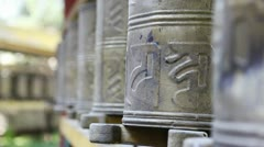 Tibetan Prayer Wheels - stock footage