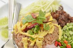 Stock Photo of thai food combo fried rice with bbq pork and salad