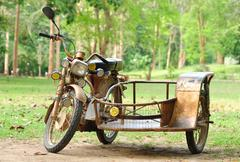vintage motorcycle trailers - stock photo