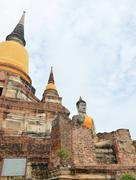Stock Photo of wat yai chai mongkol- ayuttaya of thailand