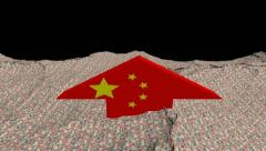 Chinese flag arrow in abstract ocean of Yuan animation Stock Footage