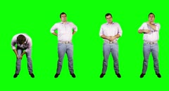 4K Men Knee Back Stomach Shoulder Pain Full Body Bundle Greenscreen Stock Footage