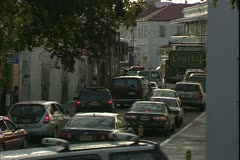 St. Thomas, The Virgin Islands, cars in a narrow street Stock Footage