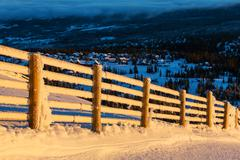 fence in winter - stock photo