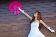 Asian bride on beach Stock Photos