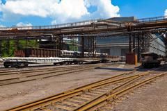 Freight railroad station Stock Photos