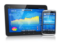 Stock market on mobile devices Stock Illustration