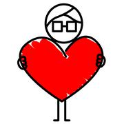 Guy with a red heart Stock Illustration