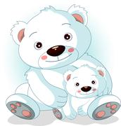 mother polar bear with her son - stock illustration