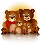 happy bear family in harmony - stock illustration
