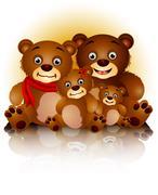 Stock Illustration of happy bear family in harmony
