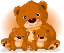 mother brown bear with her sons - stock illustration