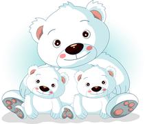mother polar bear with her sons - stock illustration