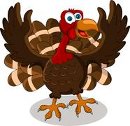 happy turkey cartoon - stock illustration