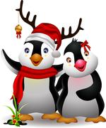 cute penguin cartoon couple - stock illustration