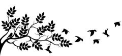 tree silhouette with birds flying - stock illustration