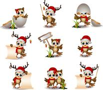 cute owl christmas cartoon set - stock illustration