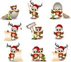 Stock Illustration of cute owl christmas cartoon set