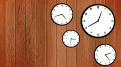 Clock with wood wall Stock Footage