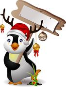 cute penguin christmas cartoon - stock illustration
