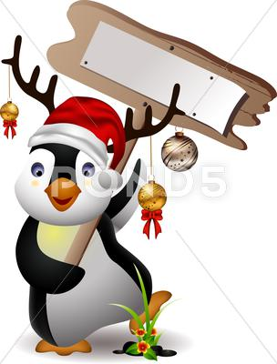 Stock Illustration of cute penguin christmas cartoon