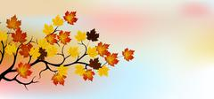 Autumn tree with sky background Stock Illustration