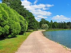 Park with lake - stock photo