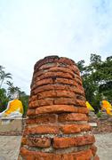 buddha statues at the temple of wat yai chai mongkol in ayutthaya near bangko - stock photo